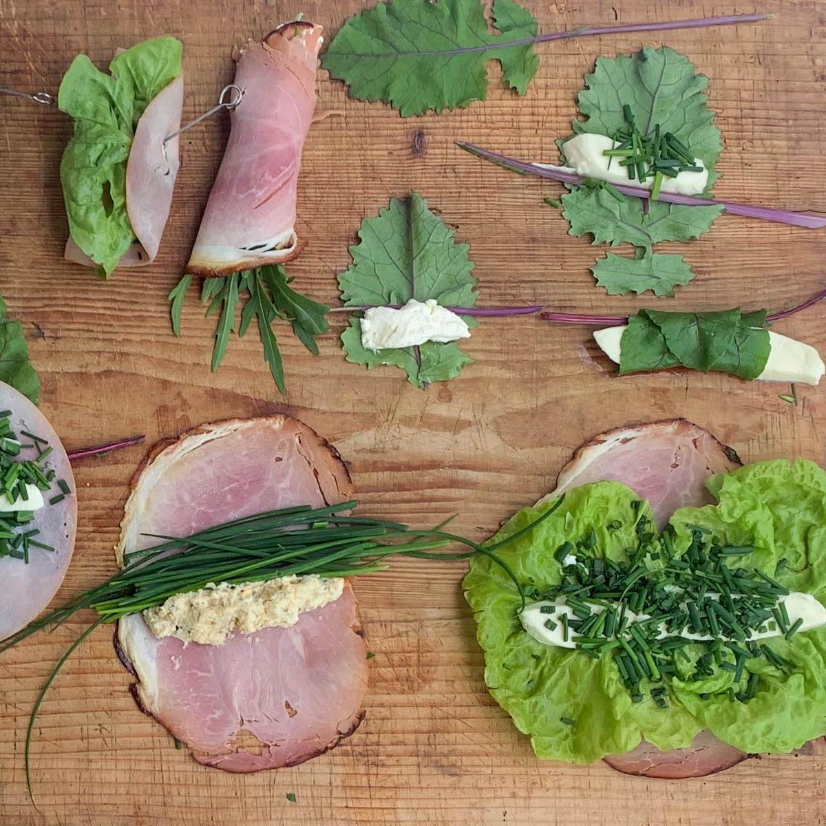 Verschillende vullingen voor groentewraps