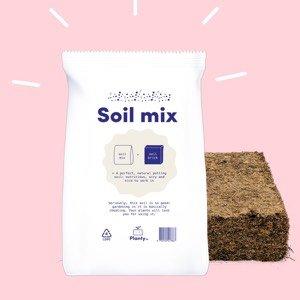 Planty mix: een combi van een veenblok en een zak magische mix