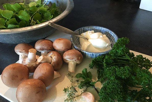 Salade met winterpostelein, champignons en creme fraiche