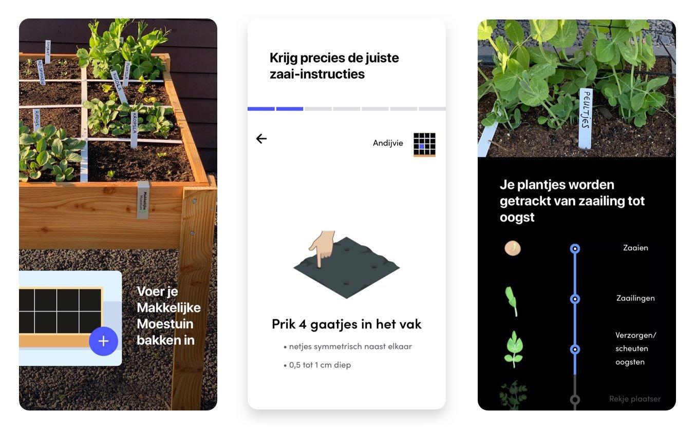 Screenshots van de Makkelijke Moestuin app