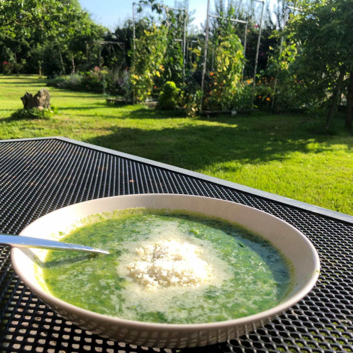 Courgette soep met veel peterselie en bieslook