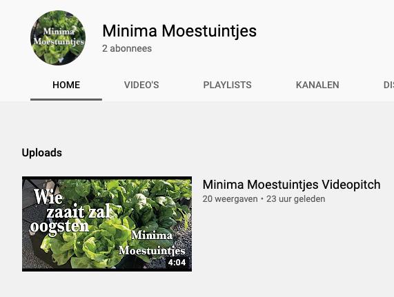 Videopitch voor Minima moestuintjes