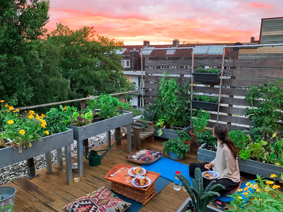 Balkon Amsterdam vol Makkelijke Moestuinbakken