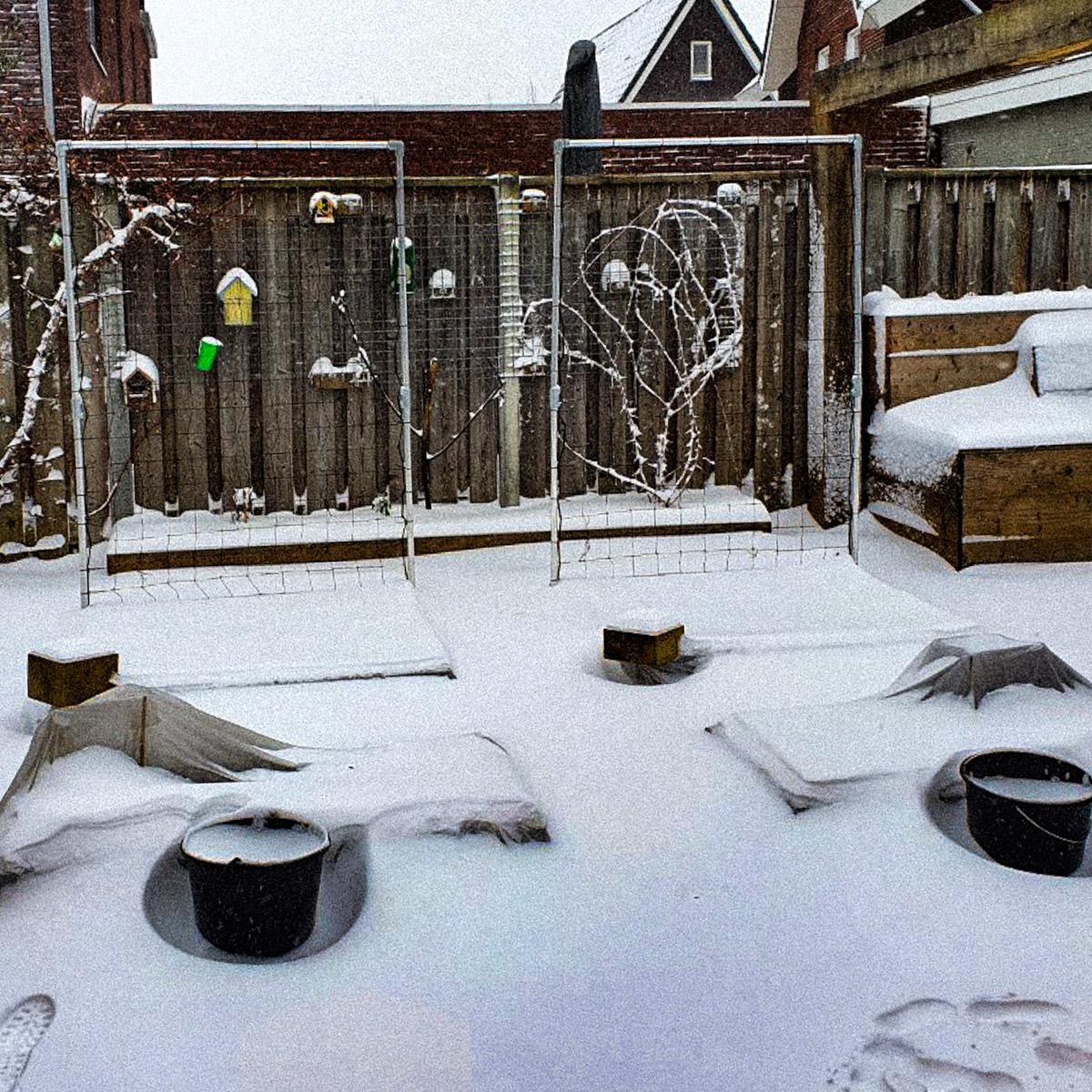 De Makkelijke Moestuin van GreenLizz is onder sneeuw bedolven.